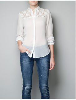 WOMENS FASHION SEXY LONG SLEEVE Perspective LACE CHIFFON SHIRT BLOUSE