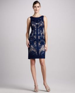 Sue Wong Sleeveless Lace Cocktail Dress