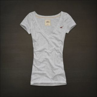 Hollister HCO Women Gray Grey Seagull Logo Shirt Top Dana Strands