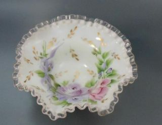 Fenton Silver Crest Bowl Hand Painted Charleton Line Lavender Roses