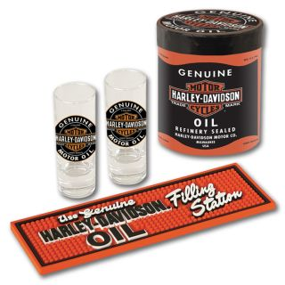 HARLEY DAVIDSON OIL CAN SHOT GLASS GIFT SET   NEW ITEM