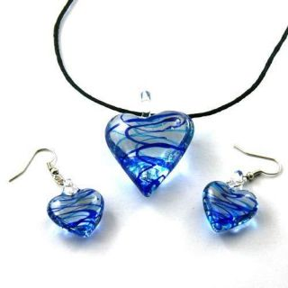 Lampwork Glass Blue Heart Shaped Pendant Necklace Earrings Set