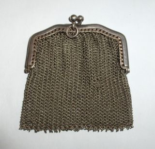 Antique German Silver Ladys Mini Mesh Coin Purse Signed Hoka