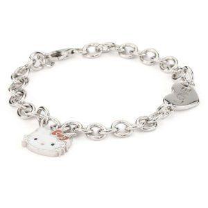 Hello Kitty Sterling Silver Hello Kitty Diamond Charm Bracelet