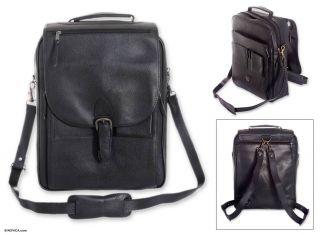 Artisan Black Handtooled Leather Messenger Bag Laptop Adjustable