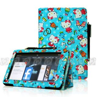 Kindle Fire Hello Kitty Folio Case Cover Car Charger USB Cable