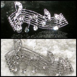 Christmas Music Note Pin Brooch Clear Swarovski Crystal