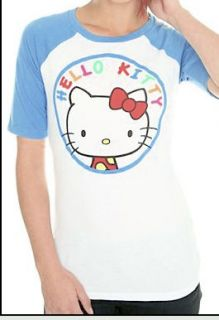 Hello Kitty Blue Circle White Raglan Baseball Shirt