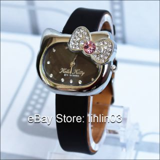 Fashion Hello Kitty Watch bow knot Cat Face Crystal Quartz Wristwatch