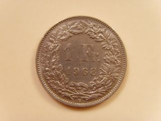 1968 b switzerland 1 franc coin helvetia