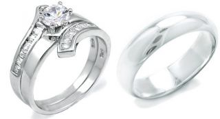 925 Sterling Silver White Gold His Hers CZ Wedding Ring Band Set