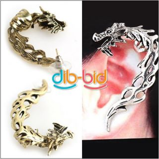Retro Gothic Rock Punk Hollow Roaring Dragon Ear Cuff Wrap Clip Stud