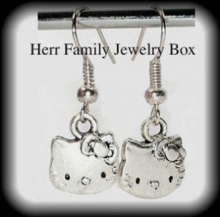 925 Sterling Silver Hello Kitty Earrings 1 Dangle Drop Pierced New