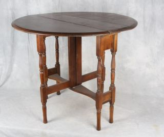 L375 Antique American Walnut Drop Leaf Gate Leg Table
