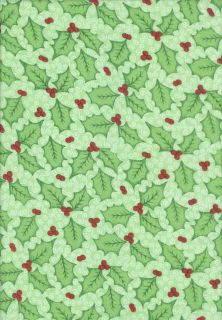 Half Yard Christmas Holly Green Springs Creative 2011 100 Cotton