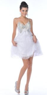 Zeilei 1834 White Butterfly Sweet 16 Short Prom Party Dress: Clothing