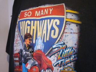 Live Free Ride 90s Vtg Mens Harley Davidison Black T Shirt Wings Sz XL
