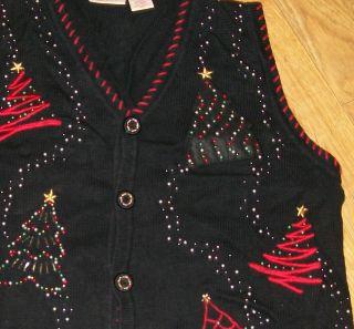 Womens Ugly Christmas Sweater Vest Size 2X 2 Beaded Glitz Trees Mens