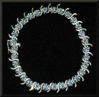 Sterling Silver with Yellow Gold Detail 1 CTW Diamond Tennis Bracelet