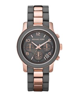 Michael Kors Two Tone Silicone Watch, Rose Gold/Gray