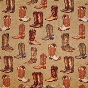 Half Yard Robert Kaufman Dan Morris Real McCoy Cowboy Boots Fabric 1 2