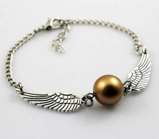 Harry potter Golden Snitch ball Bracelet Silver Double angel wings