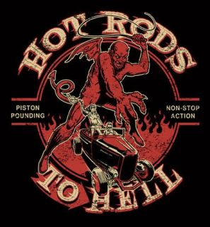 Mens 50s Retro Black Hot Rods to Hell Biker Devil T Shirt XL Vtg Style