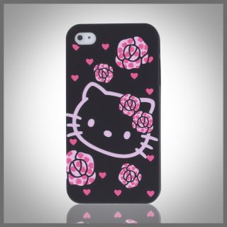cellxpressions hello kitty hearts roses black hard case cover iphone 4