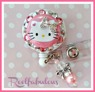 DELUXE HELLO KITTY RETRACTABLE ID REEL BADGE HOLDER with charm