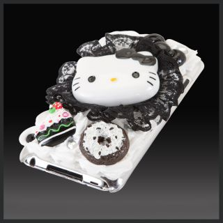 For iPod Touch 4 4G Bling Hello Kitty Lace Cake Frosting Icing Case