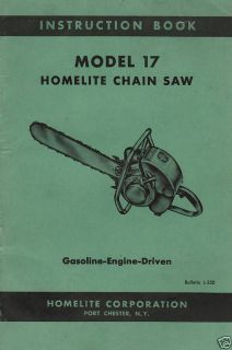 Homelite Model 17 Chain Saw Owners Manual 52 Pages 1954
