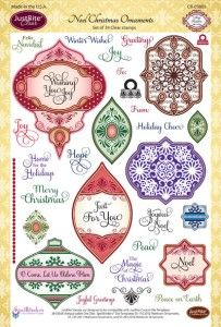 Just Rite Noel Christmas Ornaments Stamps Cling Rubber Spellbinders