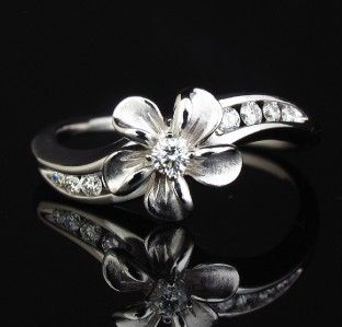 Designer Signed NA Hoku Diamond 14k Gold Plumeria Ring