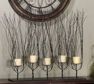 Tree Branch Candle Holder Twisted Wire Twig Brown Metal Fireplace