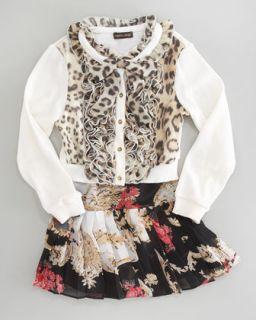 Z0T64 Roberto Cavalli Floral Print Skirt, Sizes 2 6
