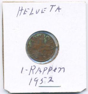 1952 1 Rappen Helvetia Coin SWITZERLAND   8086