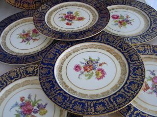 ANTIQUE set 12 PARAGON fine bone china DINNER PLATES cobalt blue gold