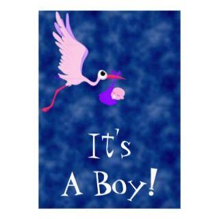 Its A Boy Deep Blue Baby Shower Invitation