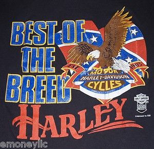 Vtg Harley Davidson Motor Cycle T Shirt Rebel Flag Mens Medium Large
