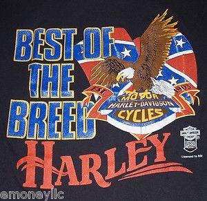 Vtg Harley Davidson Motor Cycle T Shirt Rebel Flag Mens Medium Large