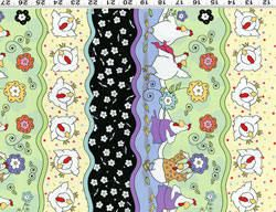 Henrietta Cotton Fabric from Clothworks Tracks on Blue