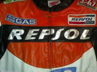 Michelin Repsol Leather Motorcycle Racing Jacket Mens BACK ARMOR HONDA