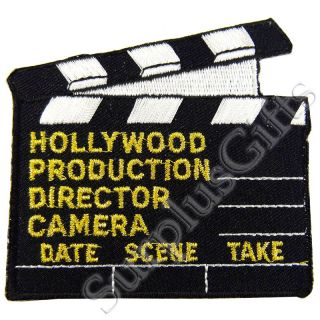 you are buying one brand new hollywood clapboard iron on patch