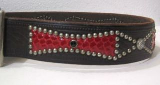 Hollywood Trading Company Red Brown Leather Unique Rivet Belt 32