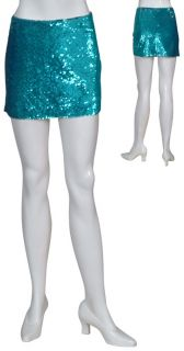Haute Hippie Turquoise Sequin Mini Skirt Large New
