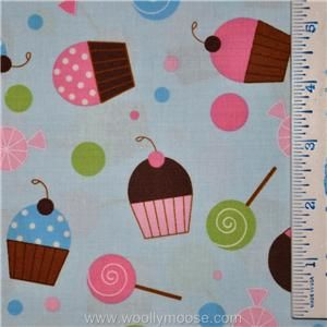 Half Yard Sweet Treat Kaufman Confections Candy Dots Cupcake Blue