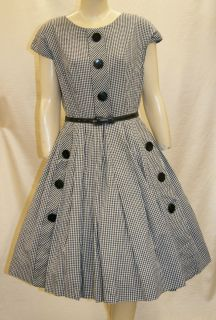 1950s Plaid Rockabilly Swing Dress by Henry Lee   Size Medium 8 to 10