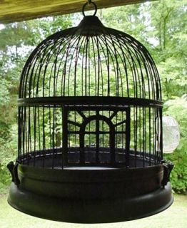 Antique Art Deco Metal Hanging Bird Cage