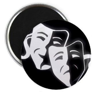 COMEDY TRAGEDY Drama Masks on Black Funny 2.25 inch Fridge