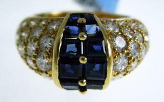Oscar Heyman 18K Yellow Gold 2 Ct Diamond and 1 60 Ct Sapphire Ring